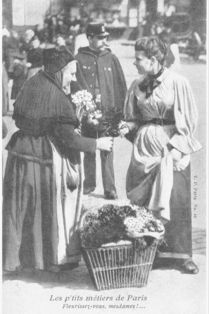 Vendeuses de fleurs au panier