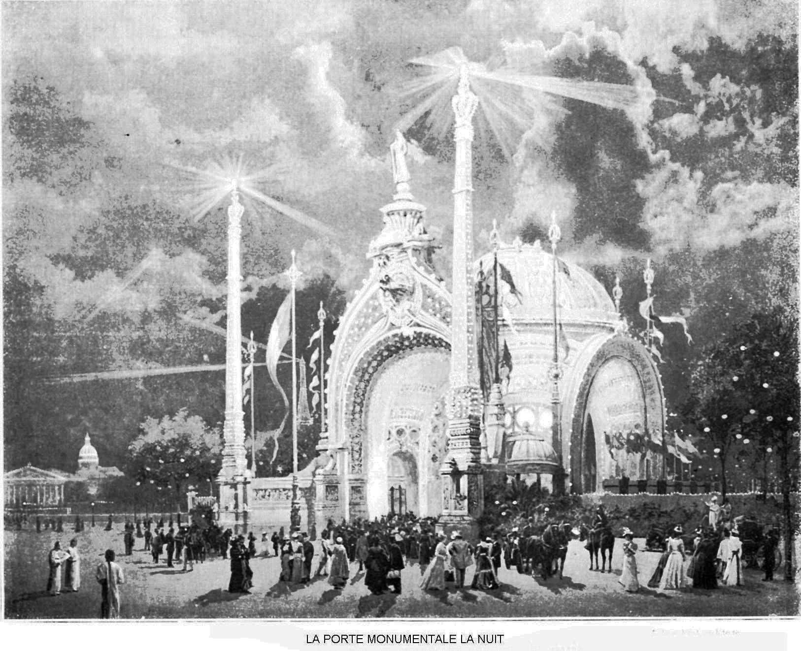 Ressources histoire exposition universelle 1900 la porte monumentale la nuit