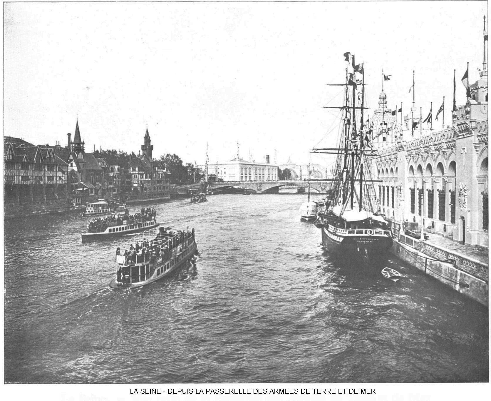 Ressources histoire exposition universelle 1900 la seine depuis la passerelle des armees de terre et de mer